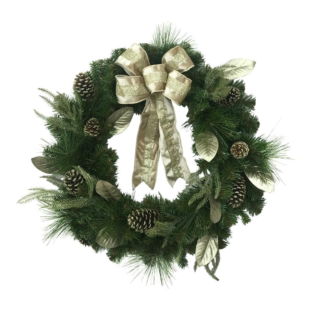Home Decorators Collection 30 in. Unlit Glittery Artificial Christmas Wreath with Magnolia