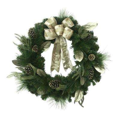Unlit Glittery Artificial Christmas Wreath with Magnolia