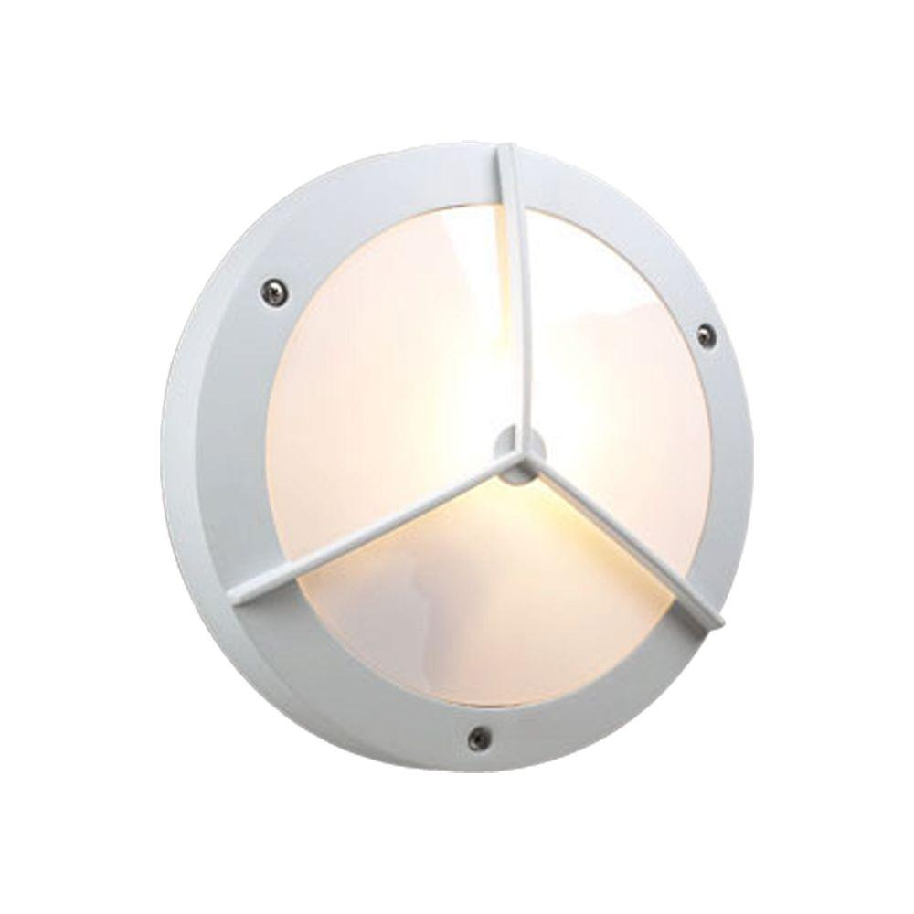 PLC Lighting 1-Light Outdoor White Wall Sconce with Matte Opal Glass