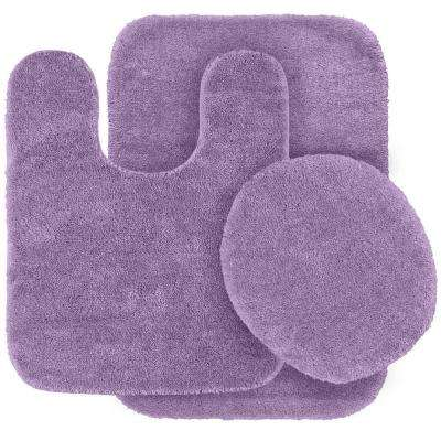 Traditional Purple 21 in. x 34 in. Washable Bathroom 3 Piece Rug Set