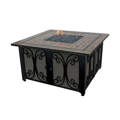 41 in. W Slate Tile Steel LP Gas Fire Pit with Wrought Iron Panels, Electronic Ignition and Bronze Fire Glass
