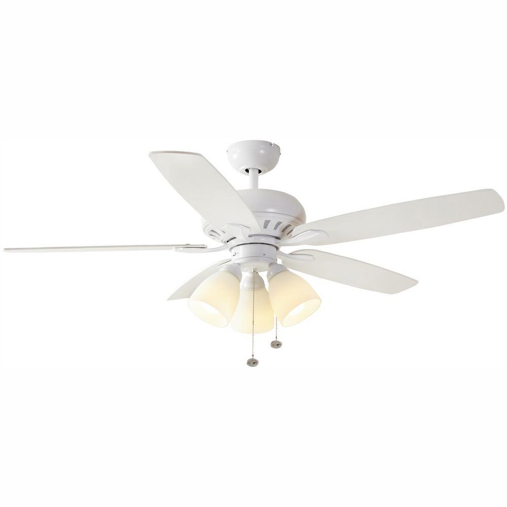 Hampton Bay Rockport 52 In Led Matte White Ceiling Fan With Light Kit