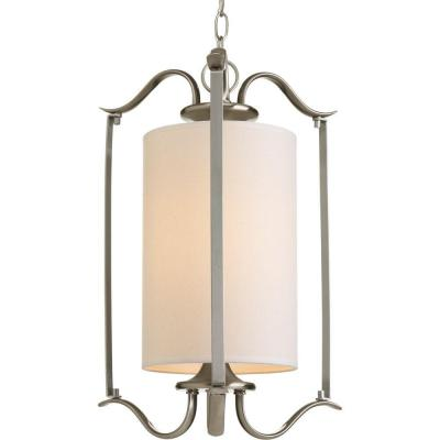 Inspire Collection 1-Light Brushed Nickel Foyer Pendant with Beige Linen Shade