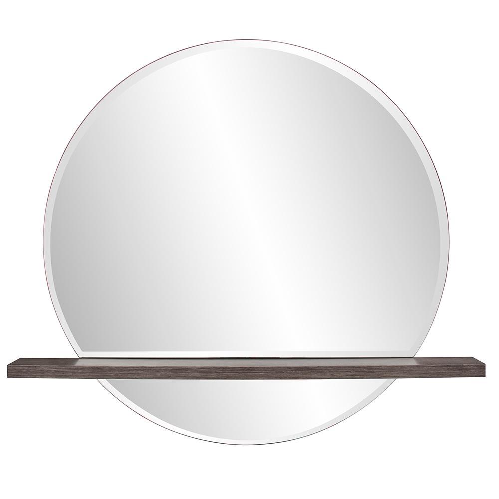 Medium Round Gray Wood Stain Beveled Glass Modern Mirror (32 in. H x 36 in. W)