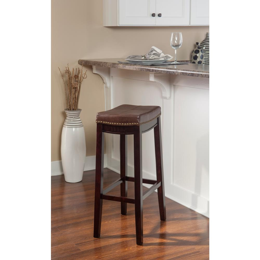 30 In Dark Brown Wood Cushioned Bar Stool Square Seat