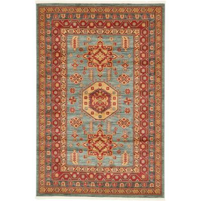 Unique Loom Sahand Light Blue 6 ft. 7 in. x 9 ft. 10 in. Area Rug, Red