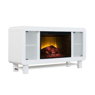 Novurhed 53 in. Electric Fireplace TV Stand in Glossy White