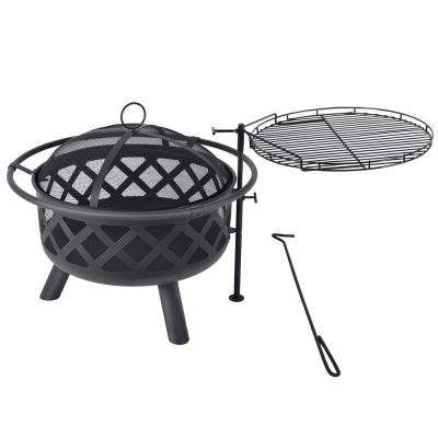 29.5 in. x 16.5 in. Round Steel Wood Burning Fire Pit Kit in Black with Spark Screen and Poker