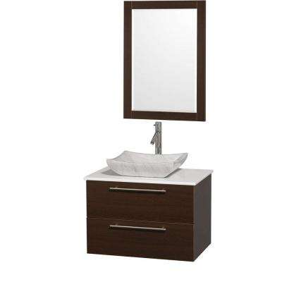 Amare 30 in. Vanity in Espresso with Man-Made Stone Vanity Top in White and Carrara Marble Sink