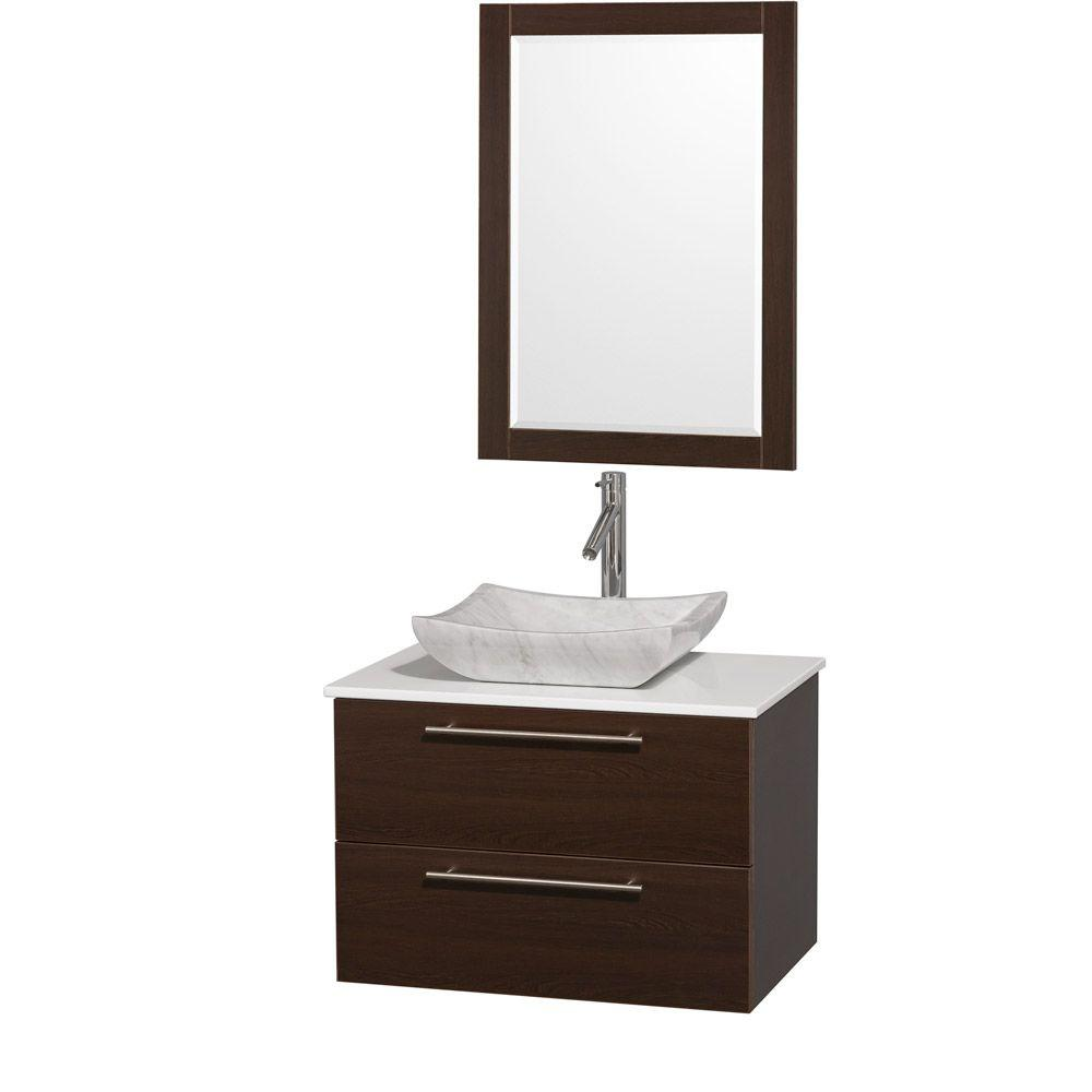 Amare 30 in. Vanity in Espresso with Man-Made Stone Vanity Top