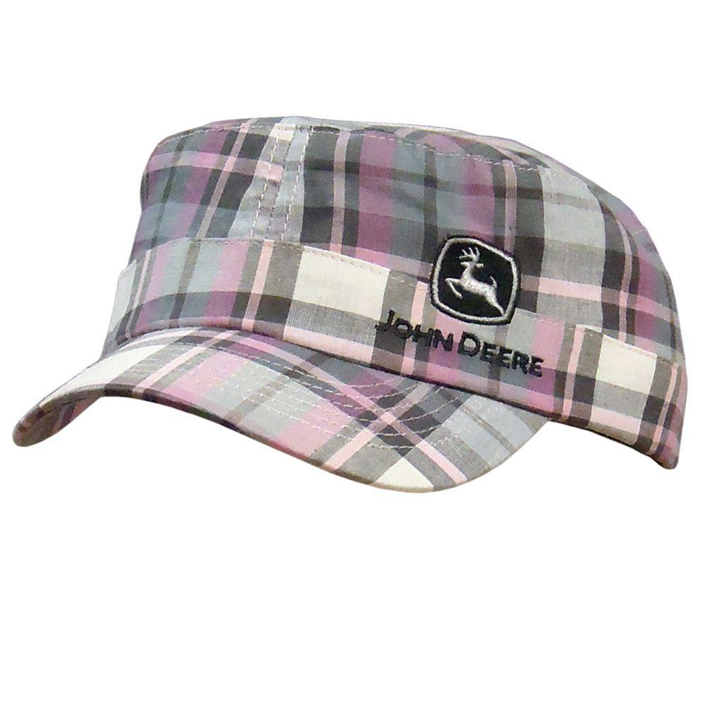 John Deere Ladies One-Size Engineer Hat/Cap in Pink Plaid