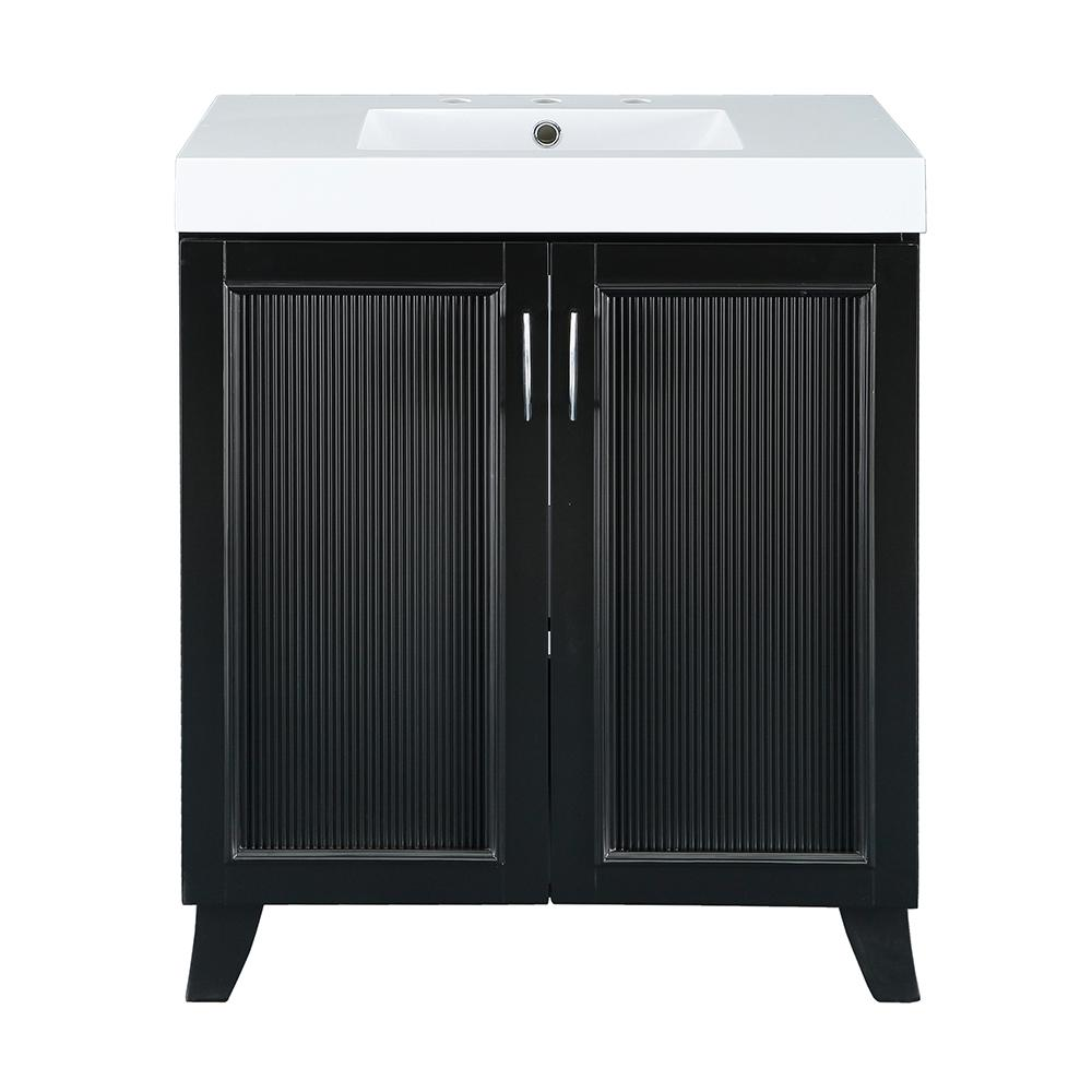 Home Decorators Collection Montecito 30 in. W x 18 in. D Vanity in Black with Cultured Marble Vanity Top in White with White Sink