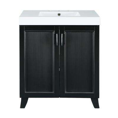 Montecito 30 in. W x 18 in. D Vanity in Black with Cultured Marble Vanity Top in White with White Sink