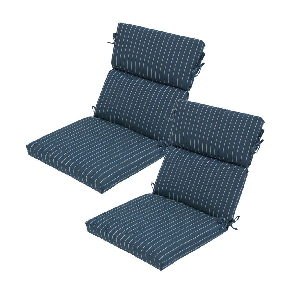 Hampton Bay Midnight Stripe Rapid-Dry Deluxe Outdoor Dining Chair Cushion (2-Pack)