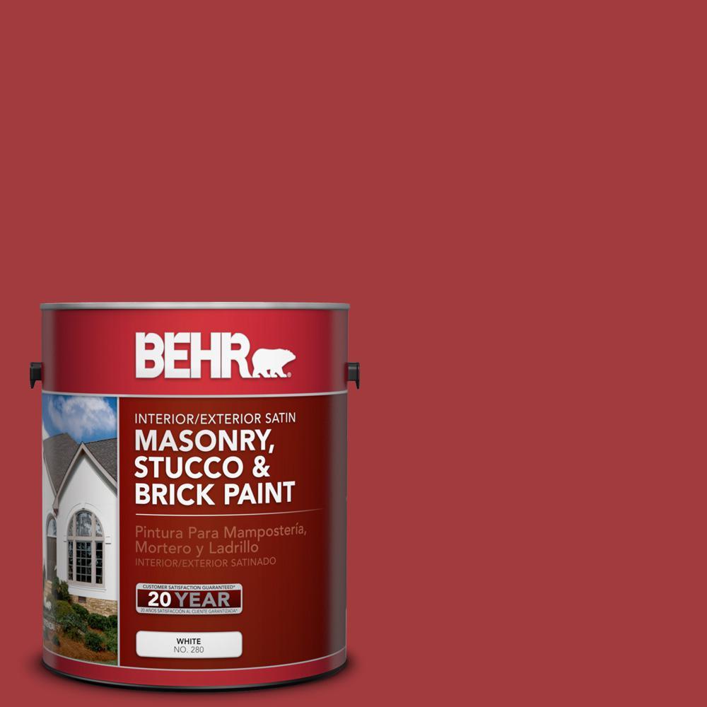1 gal. #PFC-02 Brick Red Satin Interior/Exterior Masonry, Stucco and Brick Paint