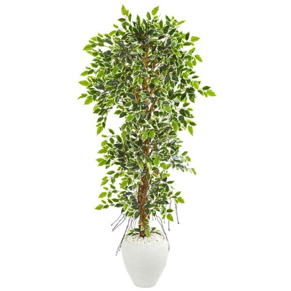 Nearly Natural Indoor 5.5 Elegant Ficus Artificial Tree in White Planter