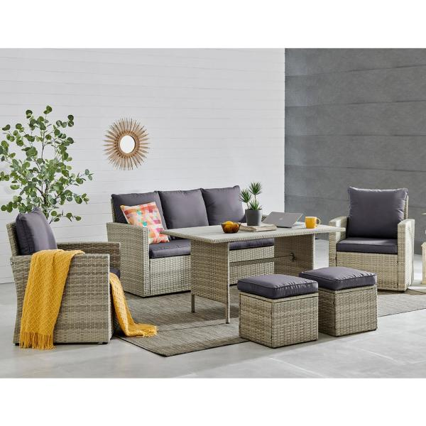 Barton 6 Piece Wicker Rattan Outdoor Patio Furniture Set With Pool Dining Table And Cushion Chairs 93508 The Home Depot