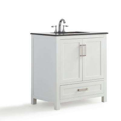 Evan 30 in. W x 21.5 in. D x 34.5 in. H Vanity in White with Granite Vanity Top in Black with White Basin