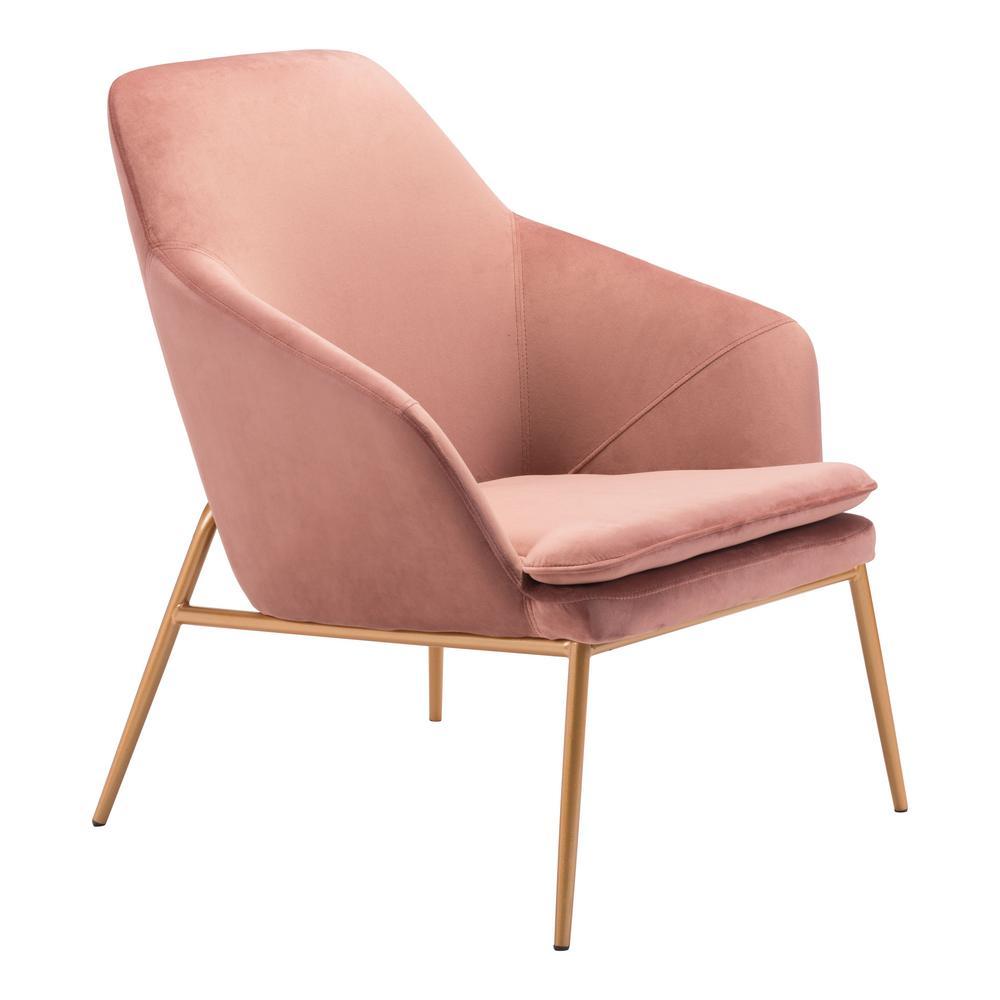 Debonair Pink Velvet Arm Chair