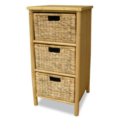 Shelly Assembled 15.5x15.5x14.25 in. Accent Storage Cabinet with 3 Hyacinth Baskets in Bamboo Natural Paint