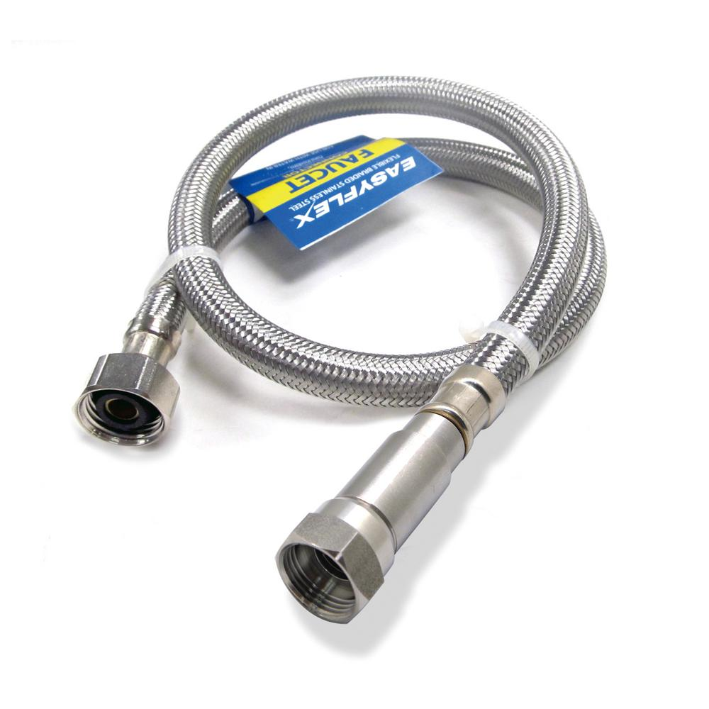 EasyFlex SafeFlow 3/8 in. C with EFV x 1/2 in. FIP, 16 in. L Stainless Steel Braided Faucet Connector