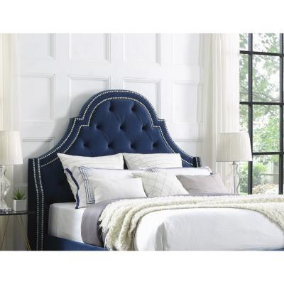 Fedele Navy Button Tufted King Headboard with Nailhead Trim
