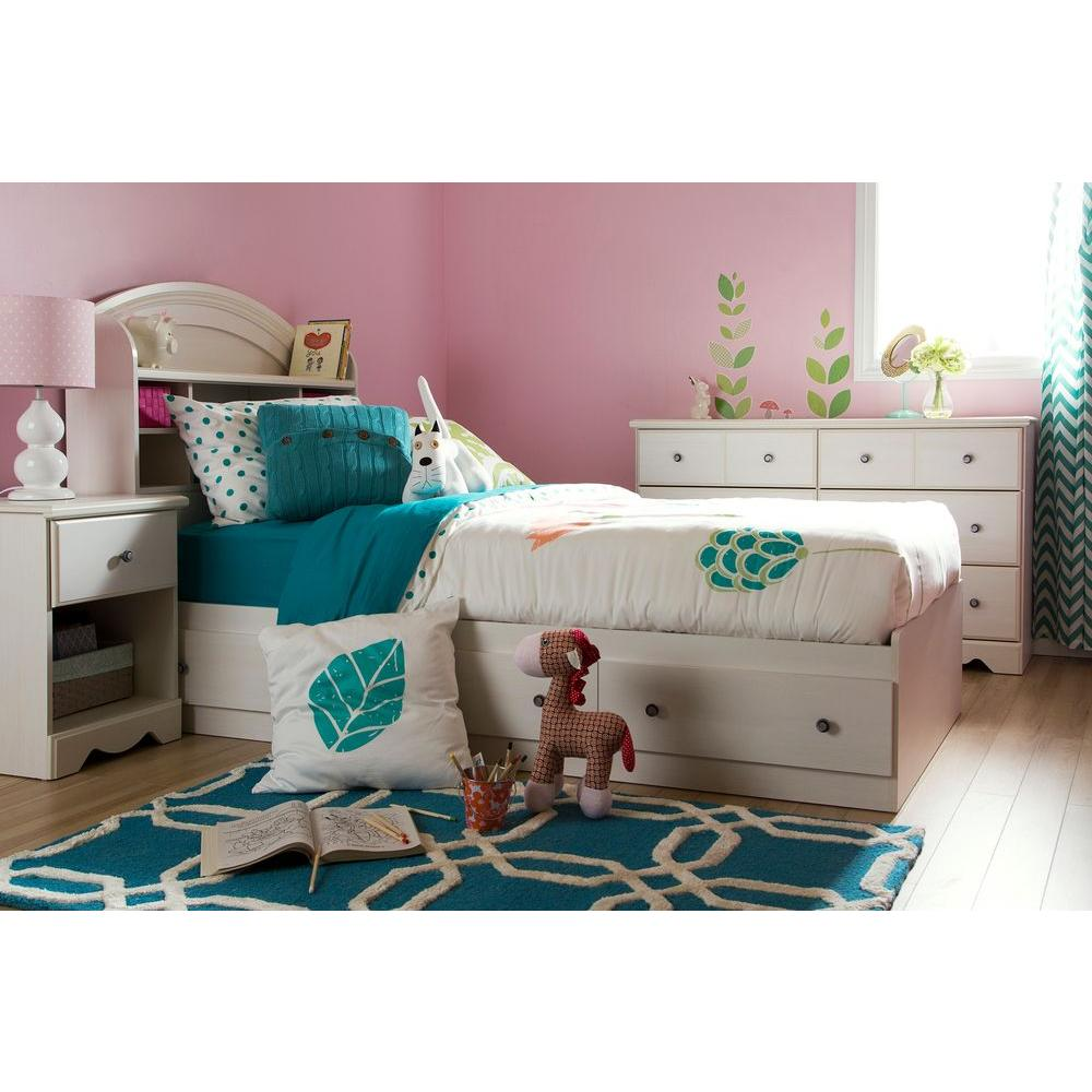 Country Poetry 3-Drawer White Wash Twin-Size Storage Bed