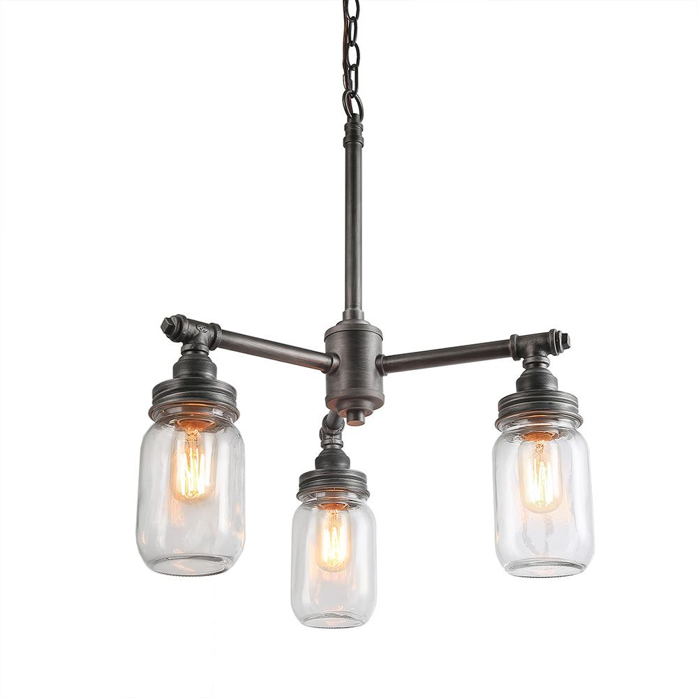 LNC 3-Light Dark Pewter Mason Jar Kitchen Island Chandelier with Clear Glass Shade