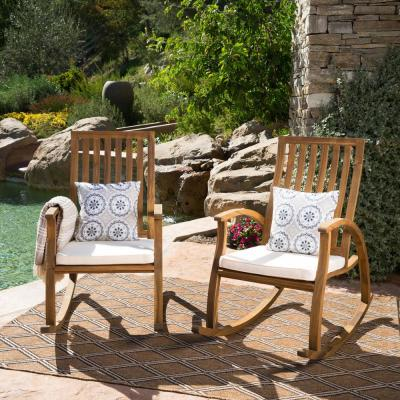 Cayo Natural Stained Wood Outdoor Rocking Chair with Cream Cushions (2-Pack)