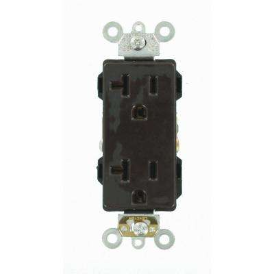 Decora Plus 20 Amp Industrial Grade Heavy Duty Self Grounding Duplex Outlet, Brown