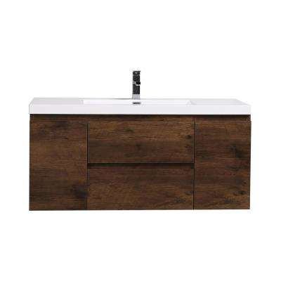 Bohemia 47.2 in. W Bath Vanity in Rosewood with Reinforced Acrylic Vanity Top in White with White Basin