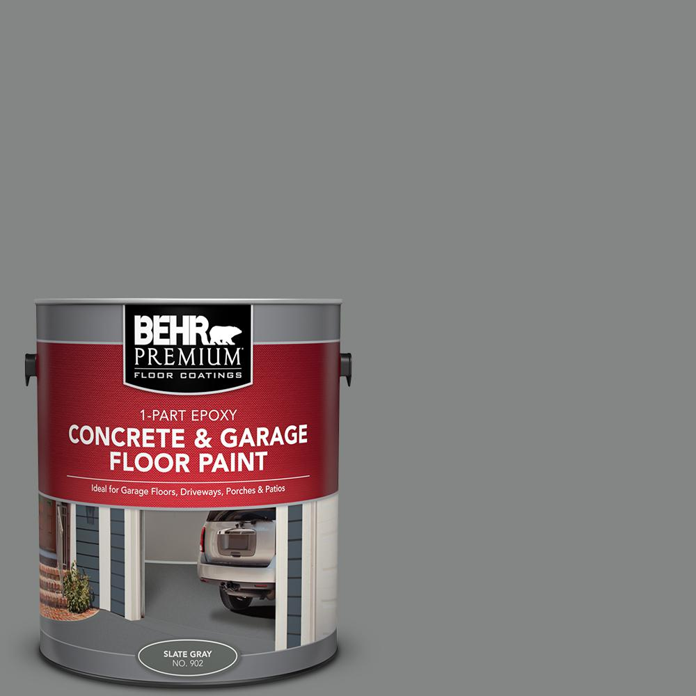 BEHR Premium 1 Gal  #902 Slate Gray 1-Part Epoxy Satin Interior/Exterior  Concrete and Garage Floor Paint