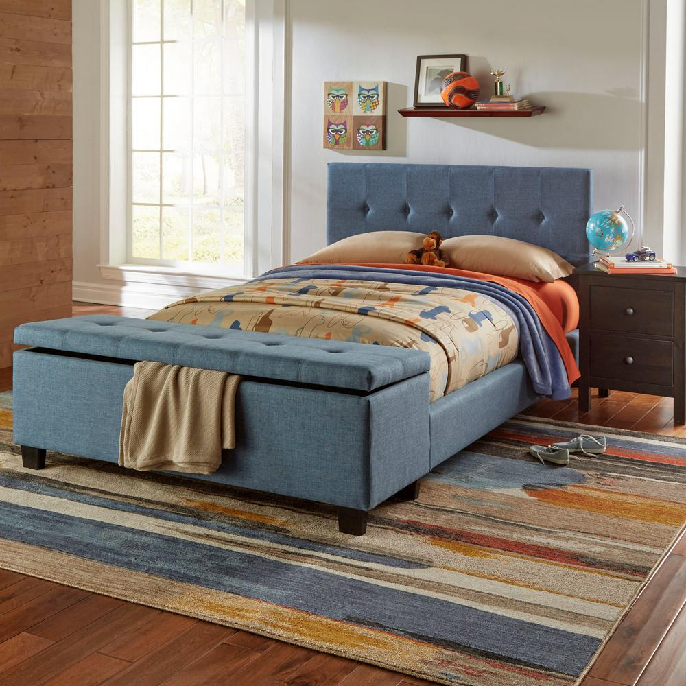 Bedroom Wood Ceiling Ideas Upholstered Bed Bedroom Bedroom With Bench Ideas Bedroom Ceiling Lighting Fixtures: Fashion Bed Group Henley Denim Blue Full Headboard And