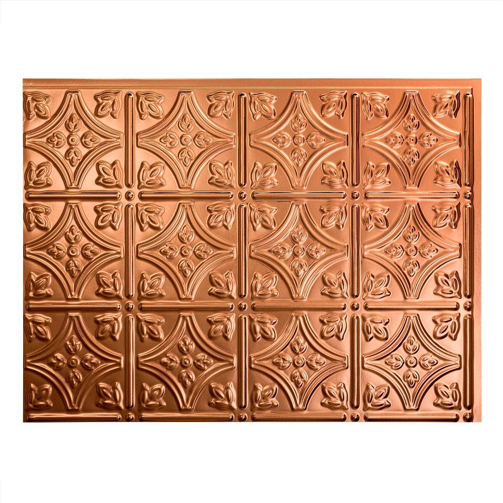 18.25 in. x 24.25 in. Polished Copper Traditional Style # 1 PVC Decorative Backsplash Panel
