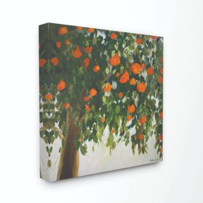 "17 in. x 17 in. ""Abstract Orange Tree Painting"" by Melissa Lyons Canvas Wall Art"