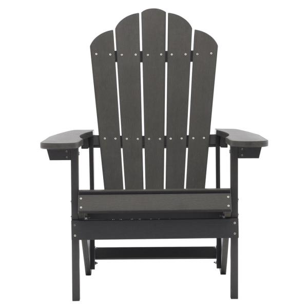 Gray Reclining Adult Size Weather Resistant Campfire Outdoor Plastic Resin Adirondack Chair