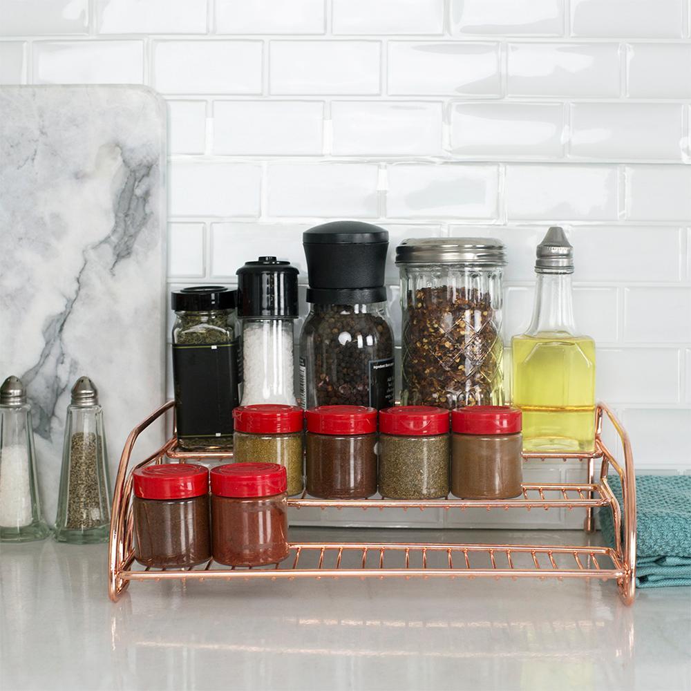 Copper Coated Steel 3-Tier Step Shelf Organizing Spice Rack HDC51561