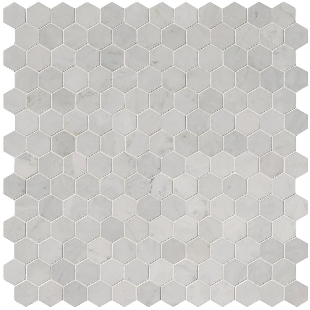 MSI Carrara White Hexagon 12 in. x 12 in. x 10 mm Polished Marble Mesh-Mounted Mosaic Floor and Wall Tile (10 sq. ft. /case)