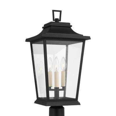 Warren 10.625 in. W 3-Light Textured Black Outdoor Post Light with Clear Glass