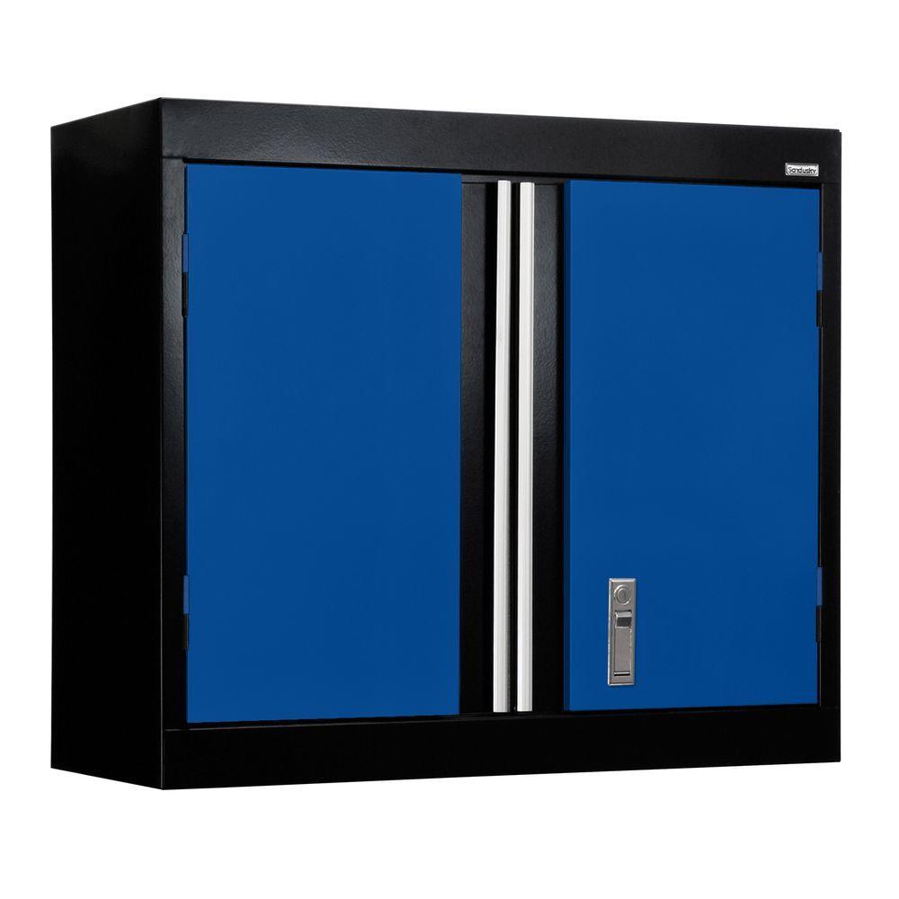 30 in. W x 12 in. D x 26 in. H Modular Steel Wall Cabinet Full Pull in Black/Blue