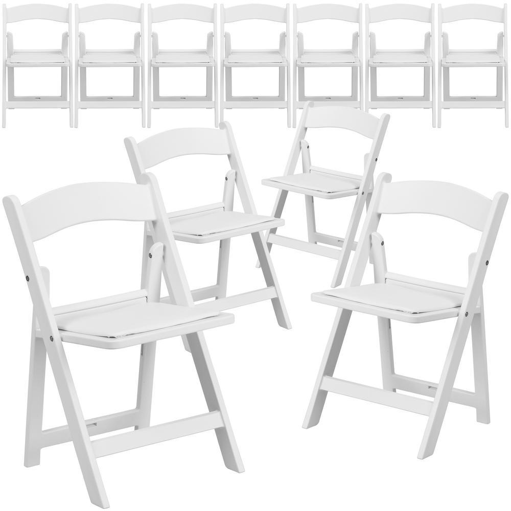 White Resin Folding Chair (Set of 11)