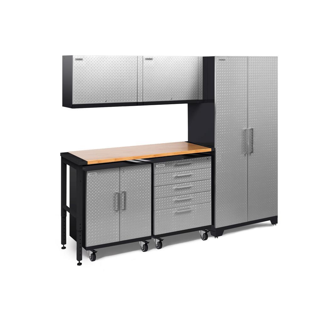 Performance Plus Diamond Plate 2.0 97 in. W x 83.25 in. H x 24 in. D Garage Cabinet Set in Silver (6-Piece)