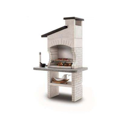 64.81 sq. in. Marmotech, Charcoal and Wood Fire Pedestal Grill in White
