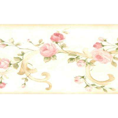 Dundee Deco Falkirk Brin Blooming Roses On Damask Scroll Beige Pink Green Wallpaper Border Bd6264 The Home Depot