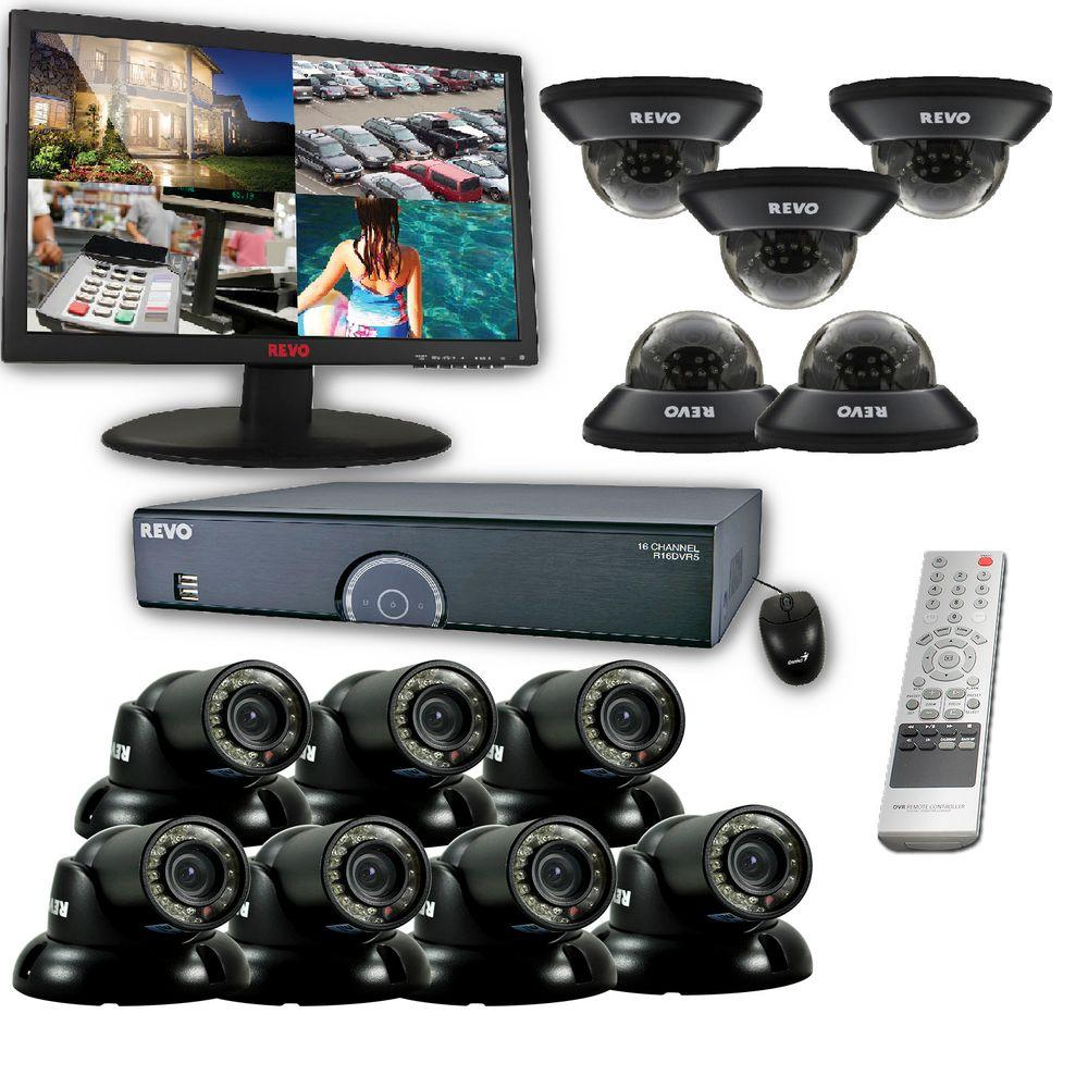 Revo 16-Channel 8TB 960H DVR Surveillance System with (12) 700 TVL 100 ft. Night Vision Cameras and 23 in. Monitor