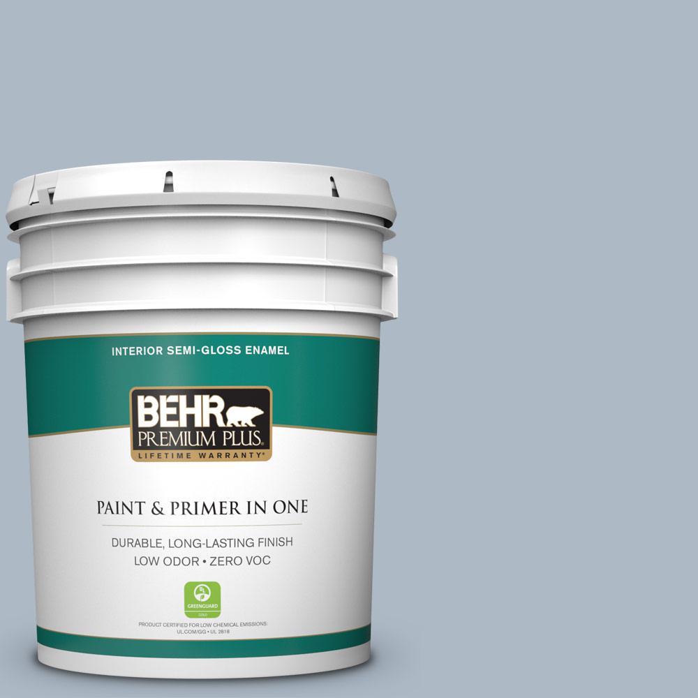 5 gal. #PPU14-12 Hazy Skies Zero VOC Semi-Gloss Enamel Interior Paint