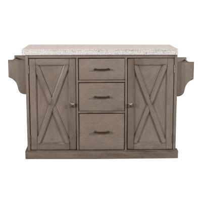 Brigham Gray Kitchen Island with Granite Top