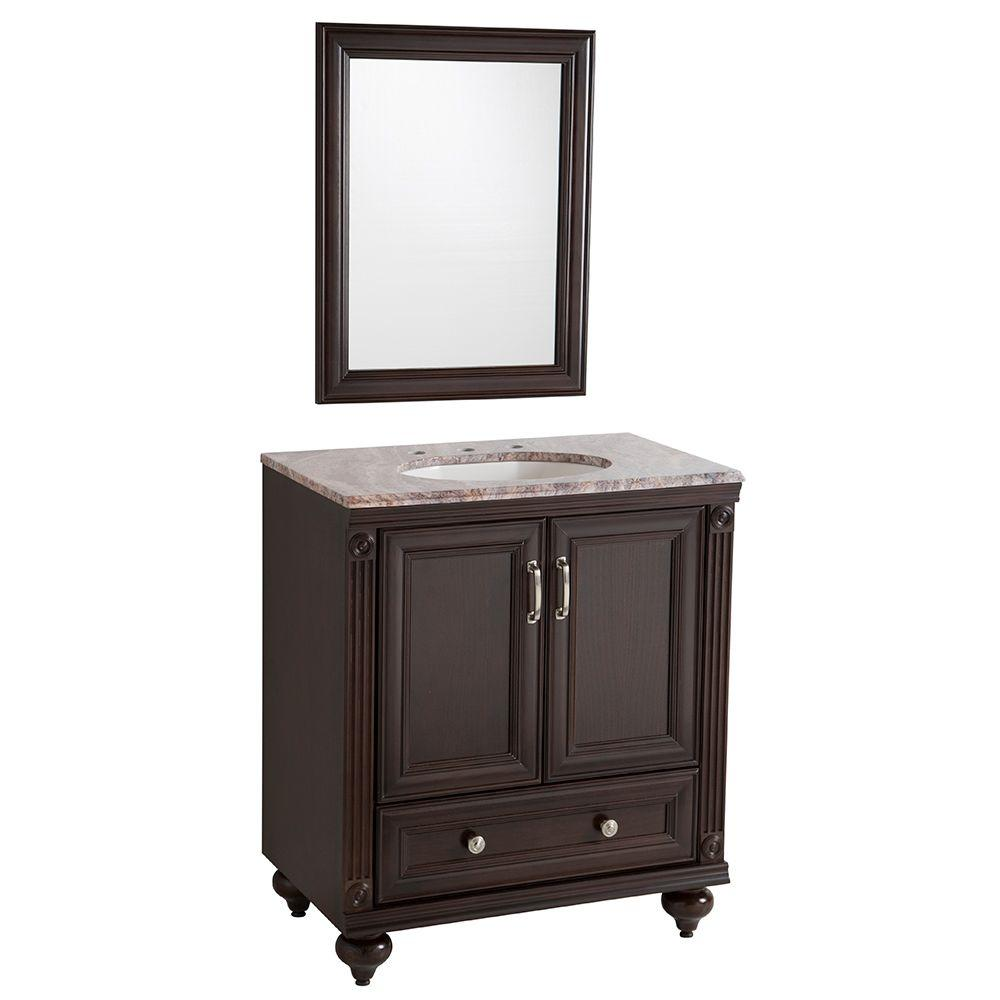 Home Decorators Collection La Touche 30 In W Vanity In Chocolate With Stone Effects Vanity Top
