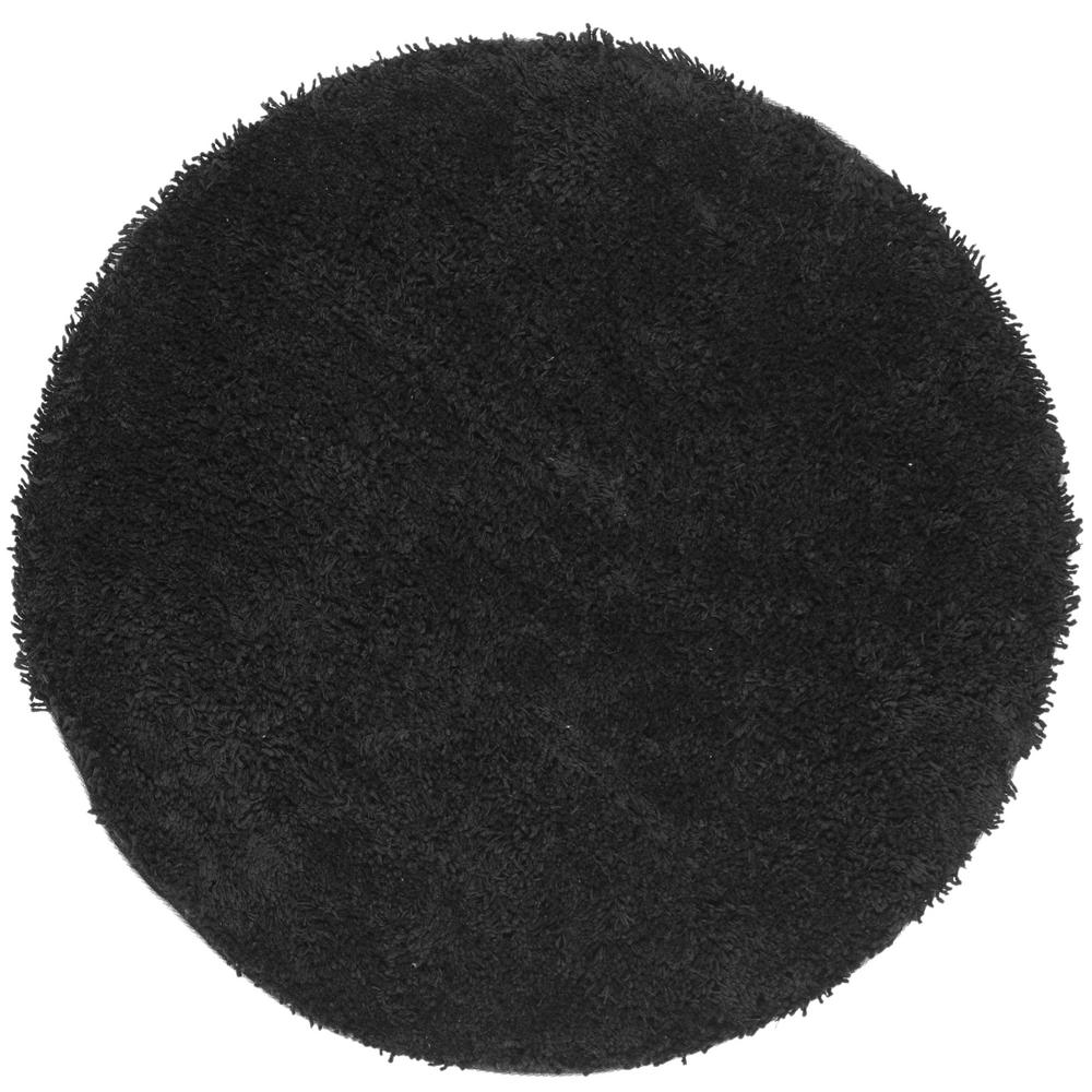Safavieh Classic Shag Ultra Black 6 Ft X 6 Ft Round Area