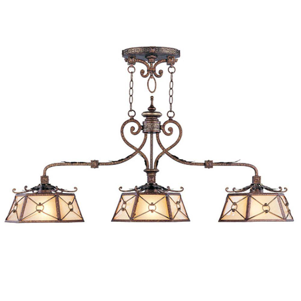 Livex Lighting Providence 3-Light Palatial Bronze with Gilded Accents Incandescent Island Ceiling Pendant